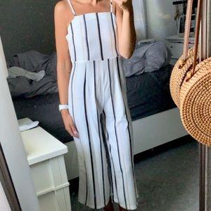 NWT Boutique white striped tie jumpsuit romper M